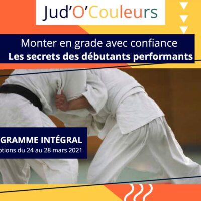 Annonce pour un programme en ligne de judo destiné aux ceintures de couleurs.