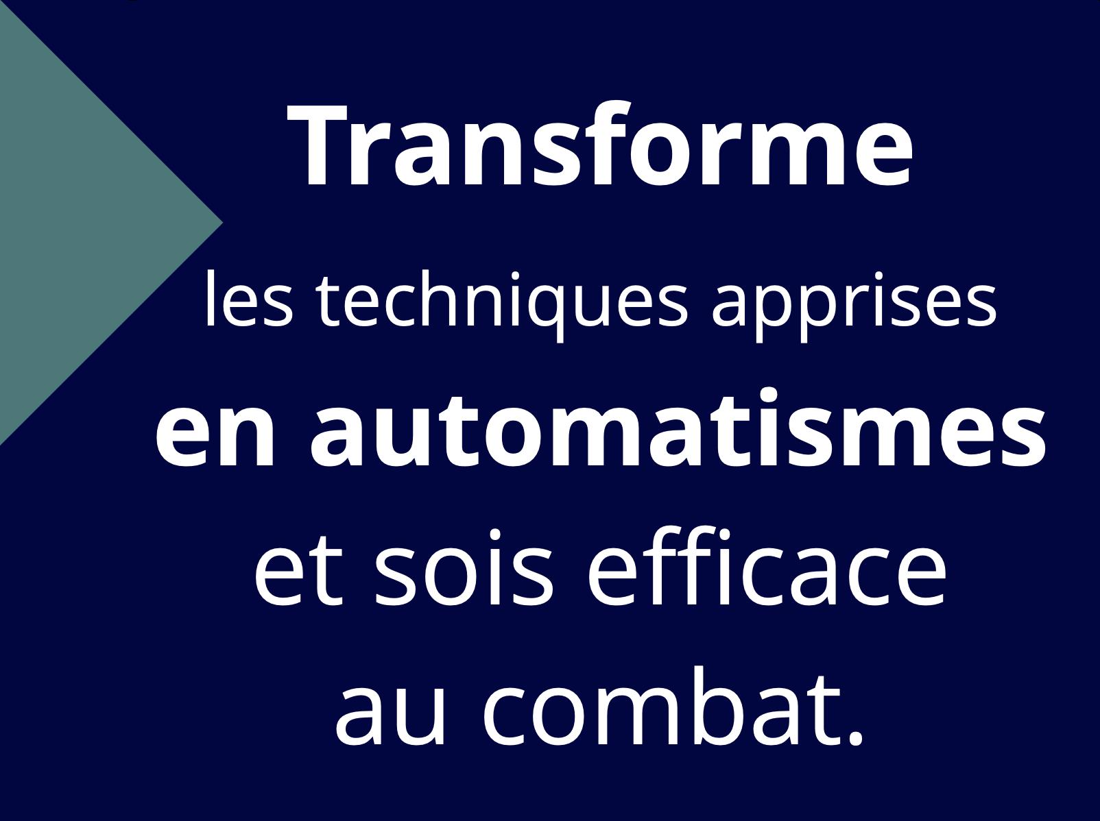 Transforme les techniques apprises en automatismes et sois efficace au combat