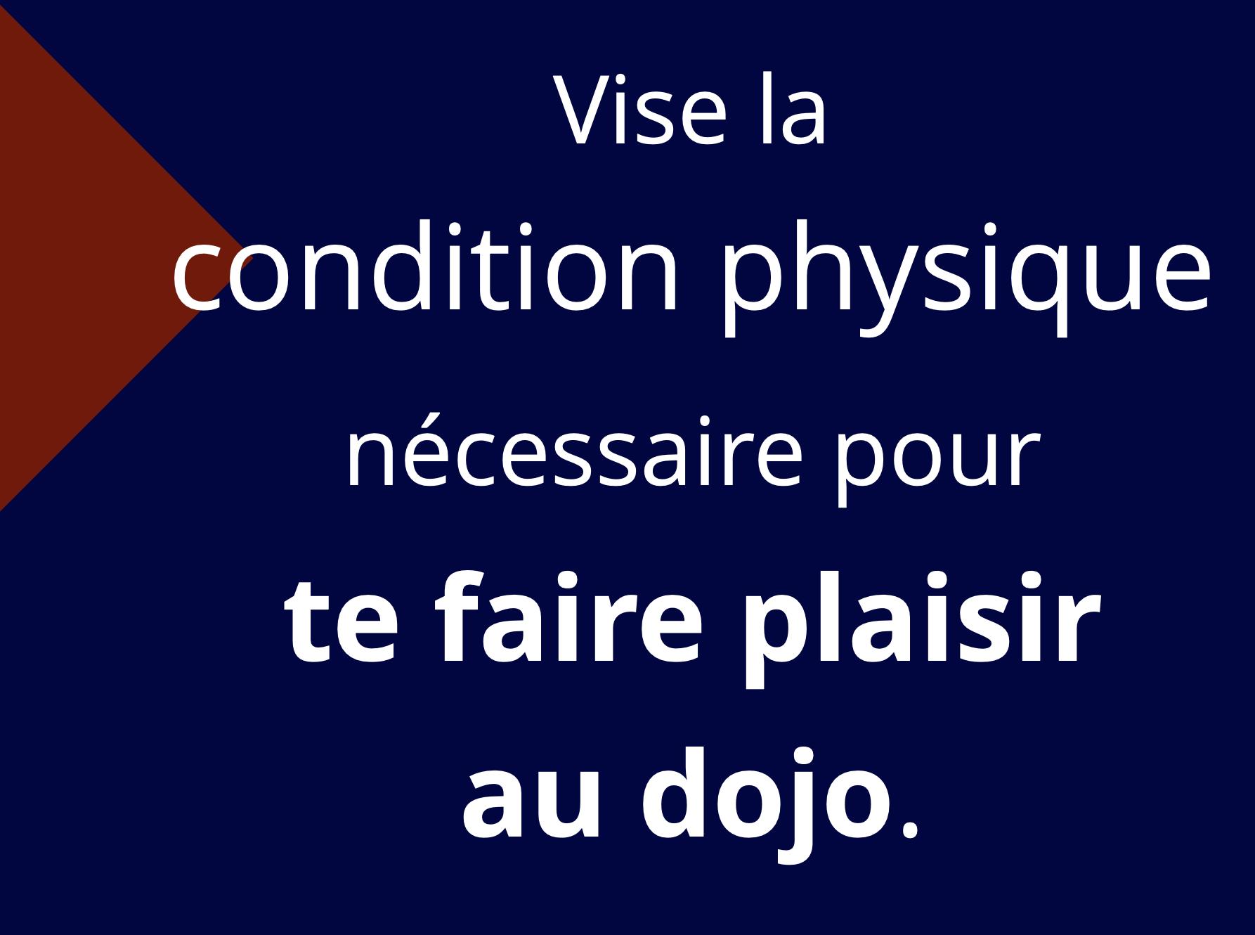 Vise la condition physique nécessaire pour te faire plaisir au dojo